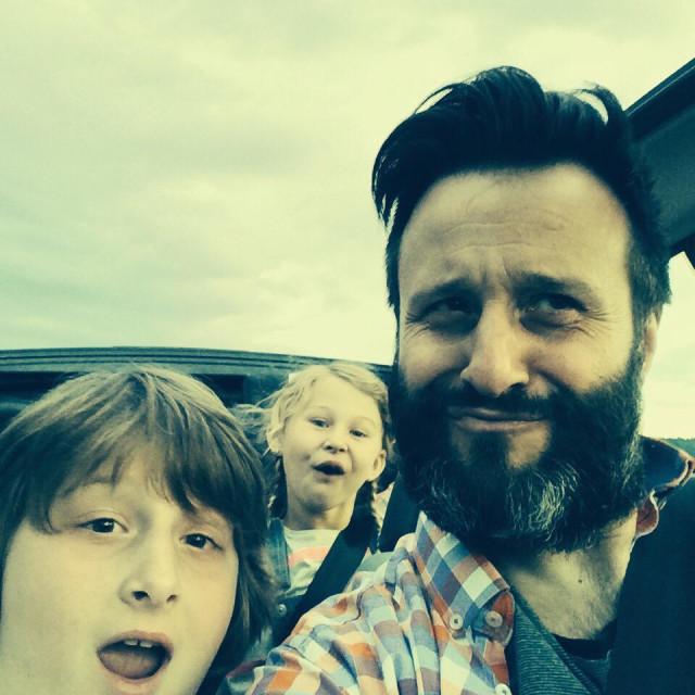 """""""Family taking selfie in car"""" stock image"""