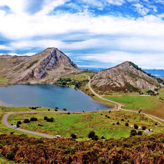 """Landscape of Lake Enol in Covadonga, Asturias - Spain"" stock image"