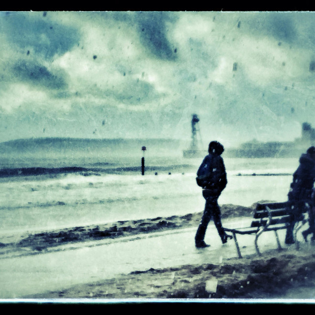 """""""Caught in hail storm at Bournemouth beach in January"""" stock image"""