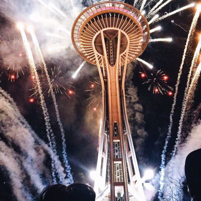 """""""Welcoming 2016 with family at Space Needle"""" stock image"""