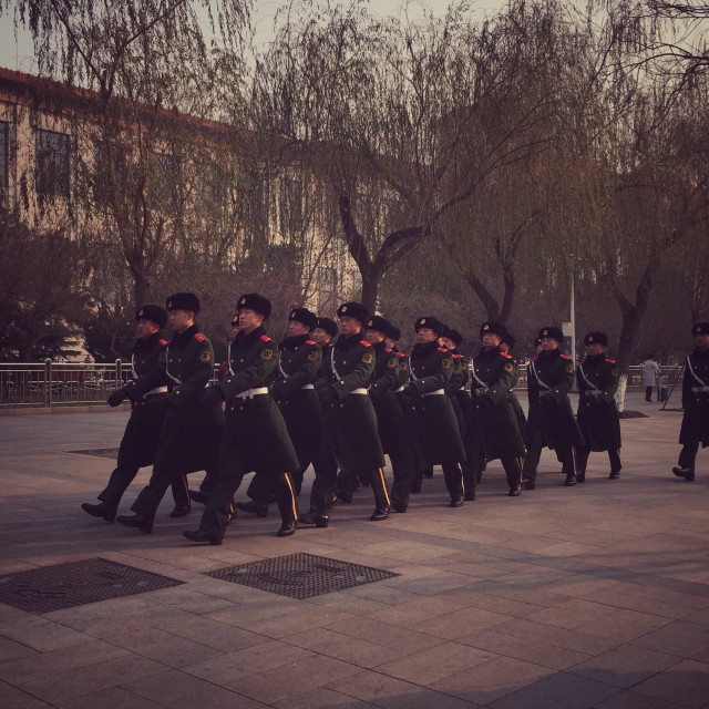 """Chinese guards marching."" stock image"