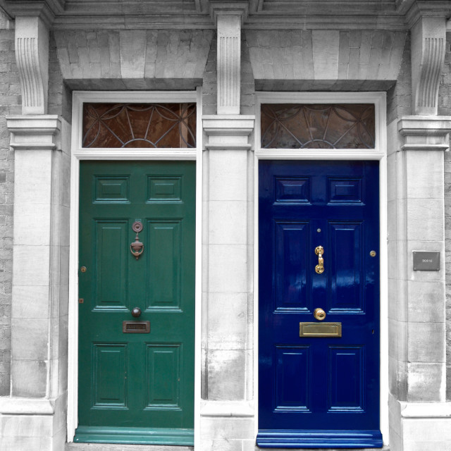 """Two closed doors in London, England"" stock image"