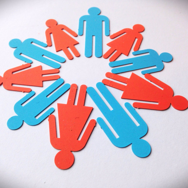 """""""Alternating symbols of male and female genders in a circle."""" stock image"""