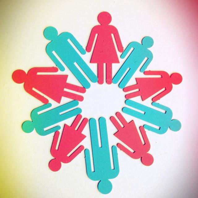 """A circle of alternating gender symbols."" stock image"
