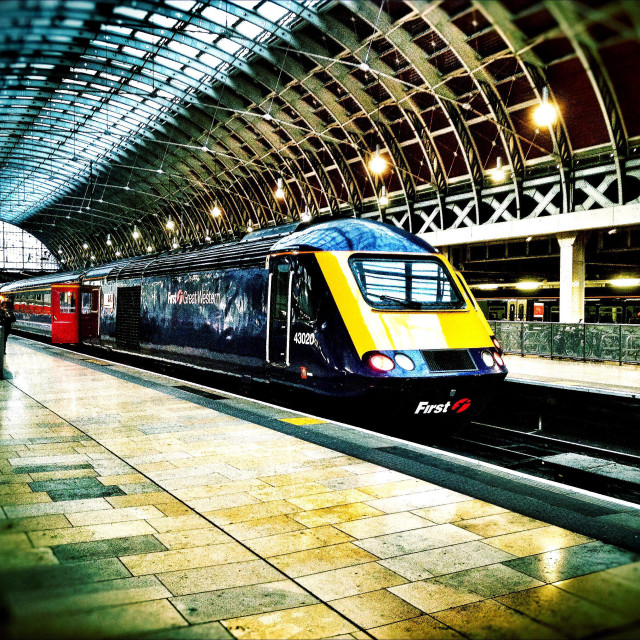 """A First Great Western intercity train waits to depart from Paddington Station in London."" stock image"