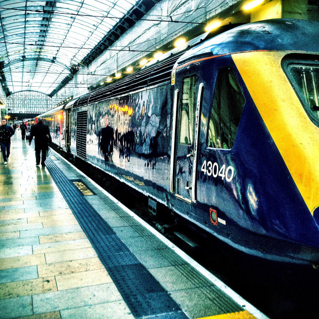 """A First Great Western train waits at Paddington Railway Station."" stock image"