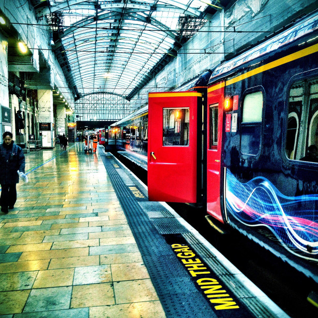"""A First Great Western train waits to depart from Paddington Railway Station in London."" stock image"