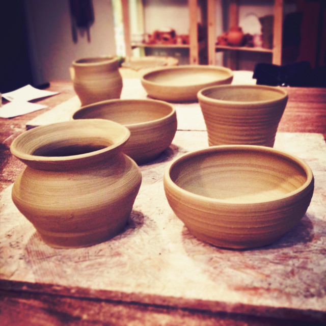 """""""Greenware ceramics ready to be fired"""" stock image"""