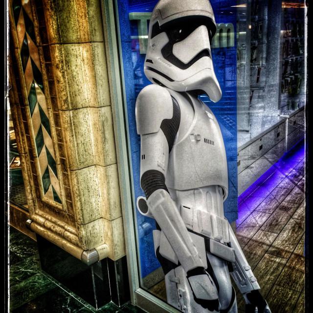 """Storm trooper poster in shop window."" stock image"