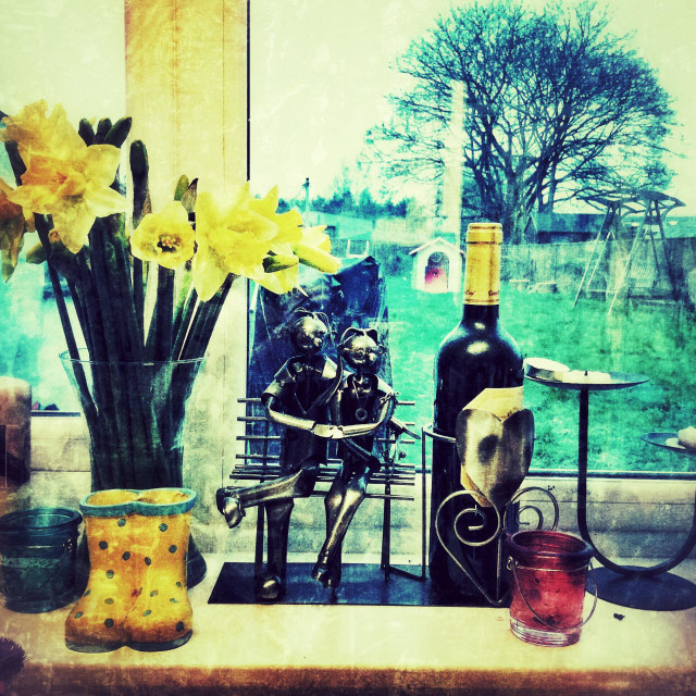 """""""A kitchen window sill with the garden outside beyond."""" stock image"""