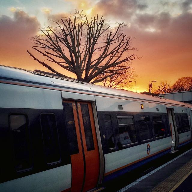 """""""Urban subset over a train station. Highbury and Islington overground station, London, UK"""" stock image"""