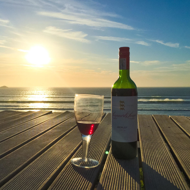 """""""Wine at the beach"""" stock image"""