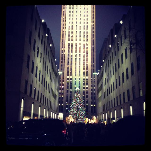 """""""Rockefeller center Christmas tree."""" stock image"""