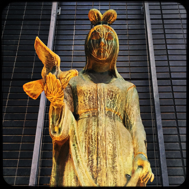"""Golden statue of peace, Hiroshima"" stock image"