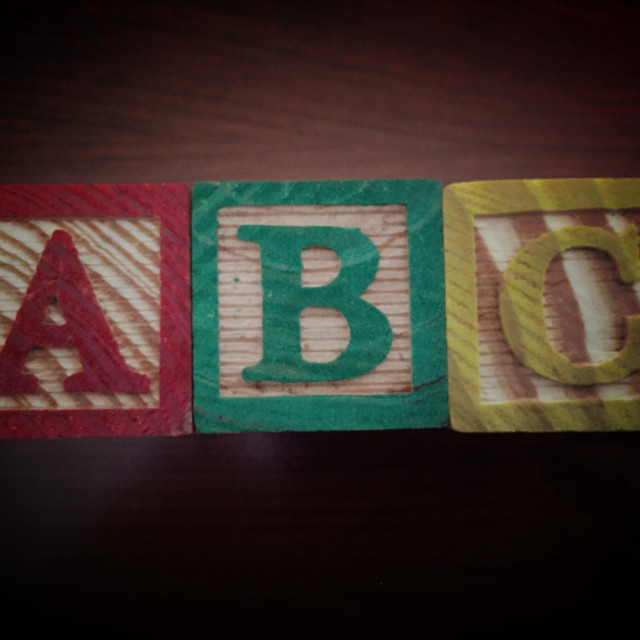 """ABC Wood Blocks used to spell ABC"" stock image"