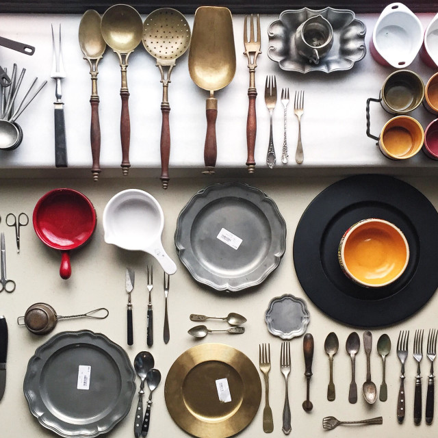 """""""Set of dishes and silverware for food photography"""" stock image"""
