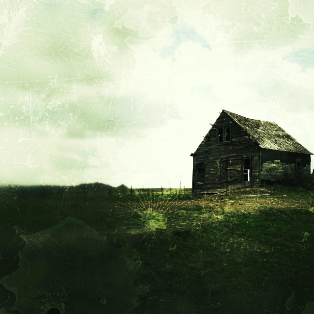 """Photo of old barn given antique photo look."" stock image"