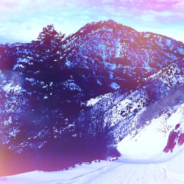 """A winter scene in Utah with vintage-looking light leaks."" stock image"