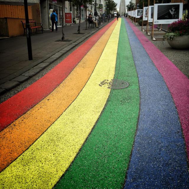 """""""Rainbow Road, Reykjavik, Iceland"""" stock image"""