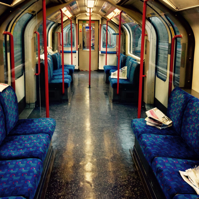 """""""After the rush hour. An empty London tube carriage."""" stock image"""