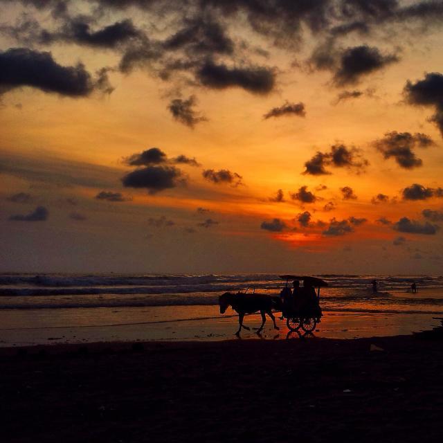 """Sunset beach at Indonesia"" stock image"