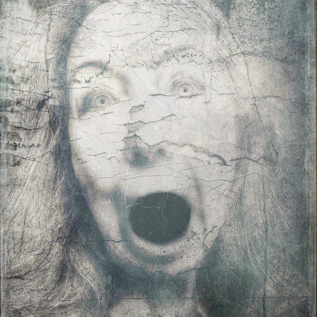 """""""Odd Looking Woman with Mouth Open in Horror"""" stock image"""