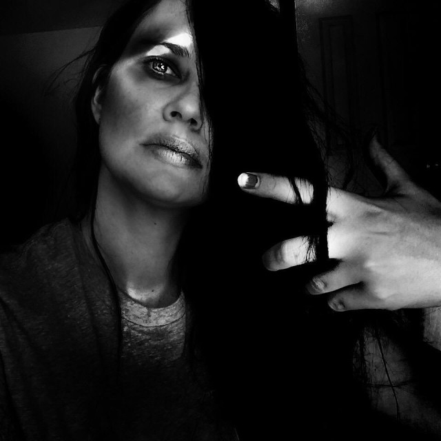 """""""Dark and edgy black and white portrait of woman"""" stock image"""