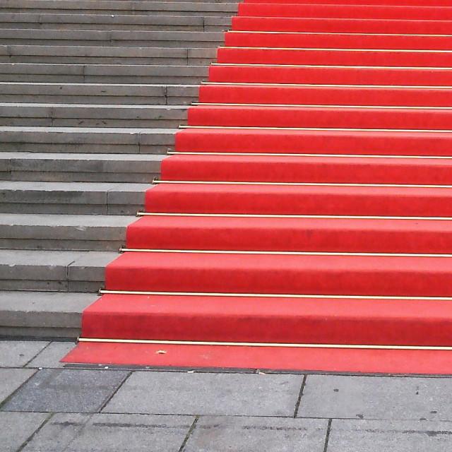 """Red carpet on steps"" stock image"