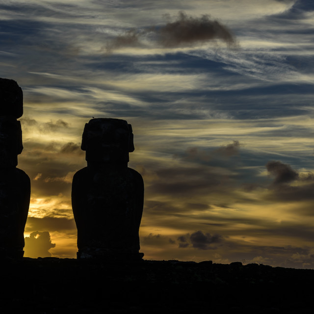"""Moai (statues) in Easter Island, Chile"" stock image"