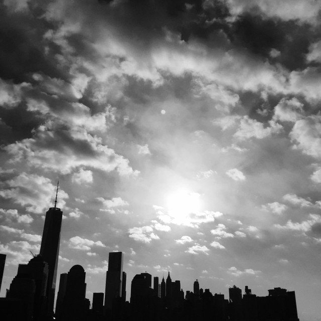 """Lower Manhattan in silhouette"" stock image"