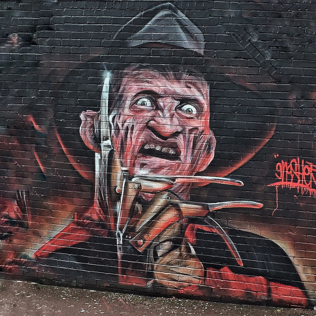 """Street art, Freddy Krueger. Nightmare on Elm Street."" stock image"