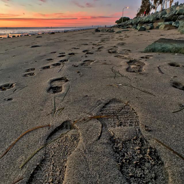 """Footprints on the beach, Chula Vista Bayfront Park, California, USA"" stock image"