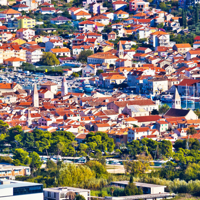 """""""Old UNESCO town Trogir aerial panorama"""" stock image"""
