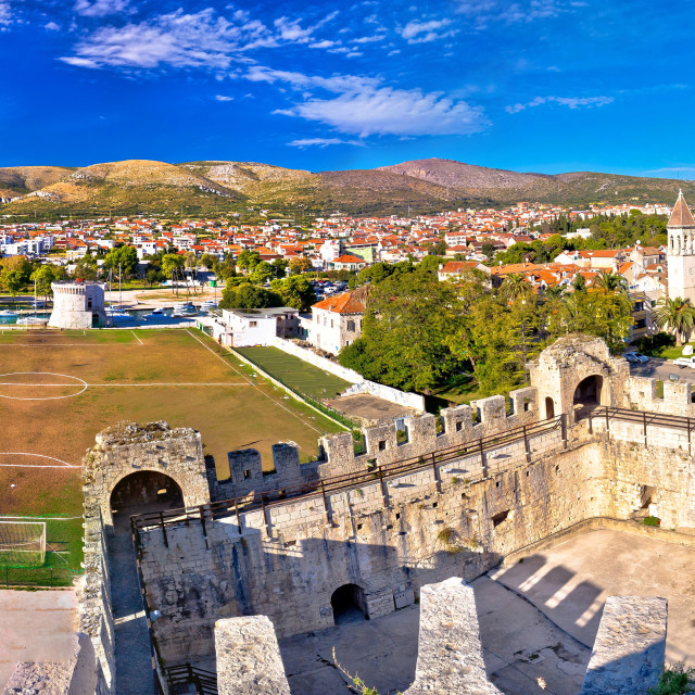 """Old town trogir rooftops and soccer field"" stock image"