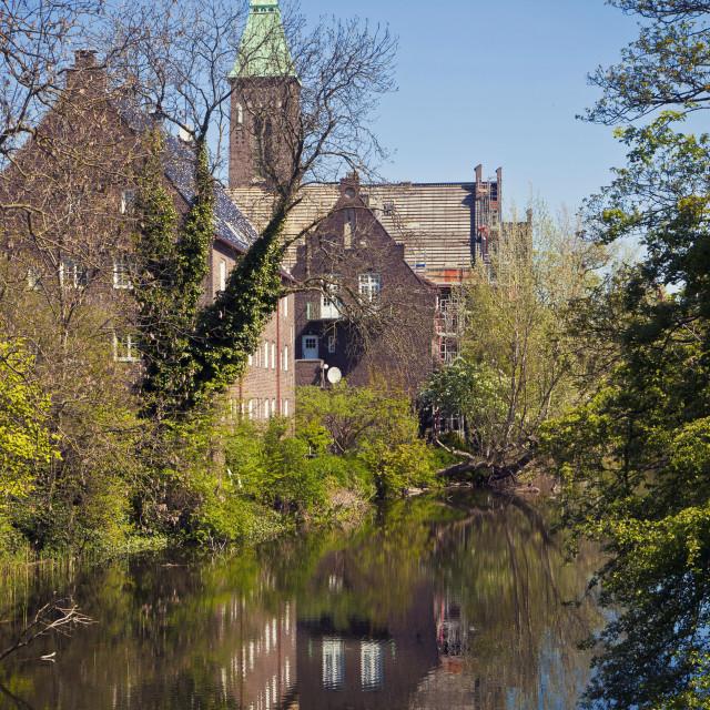 """""""Copenhagen, Denmark - Gustaf Church,on the banks of Kastellet fortress"""" stock image"""