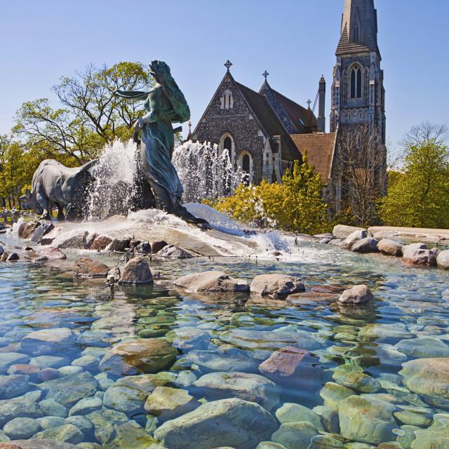 """Copenhagen, Denmark - Gefion Fountain, the largest fountain of the city"" stock image"