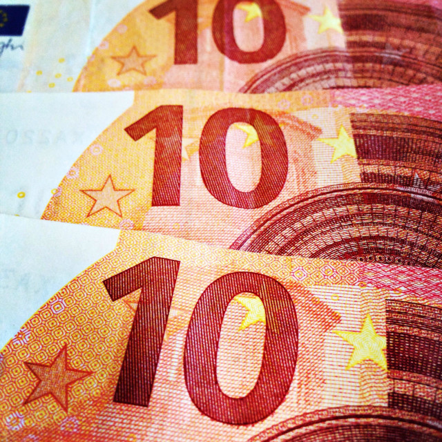 """Four 10 ten euro bills in colour: forty euro"" stock image"