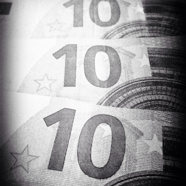"""Four 10 ten euro bills in black and white: forty euro"" stock image"
