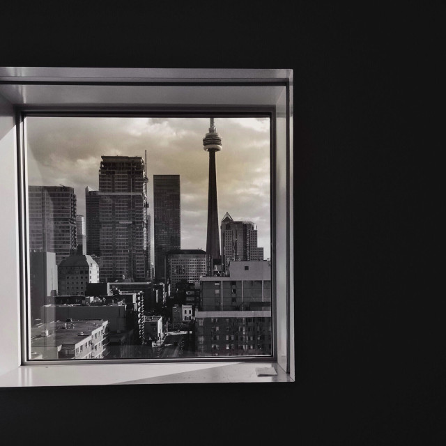 """View of the 6ix from my favourite window on campus!"" stock image"