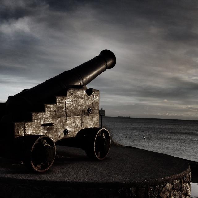 """""""Irish Canon - Canon on Dun Laoghaire pier, overlooking Dublin Bay - Ireland"""" stock image"""
