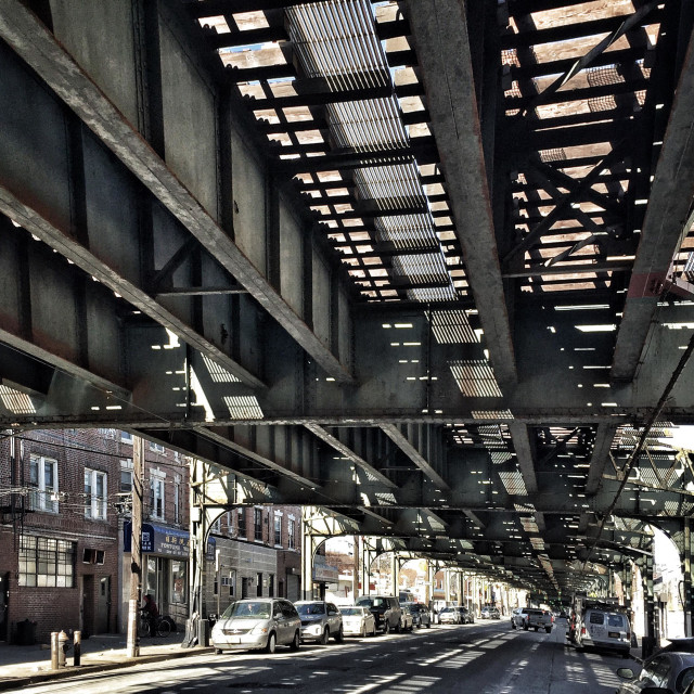 """Under the elevated train in Brooklyn, ny"" stock image"