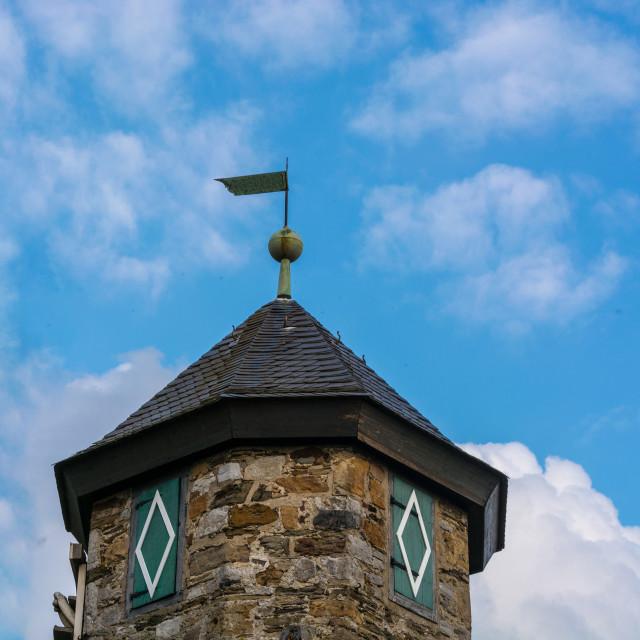 """""""Spire of Castle Hetterscheidt in Heiligenhaus"""" stock image"""
