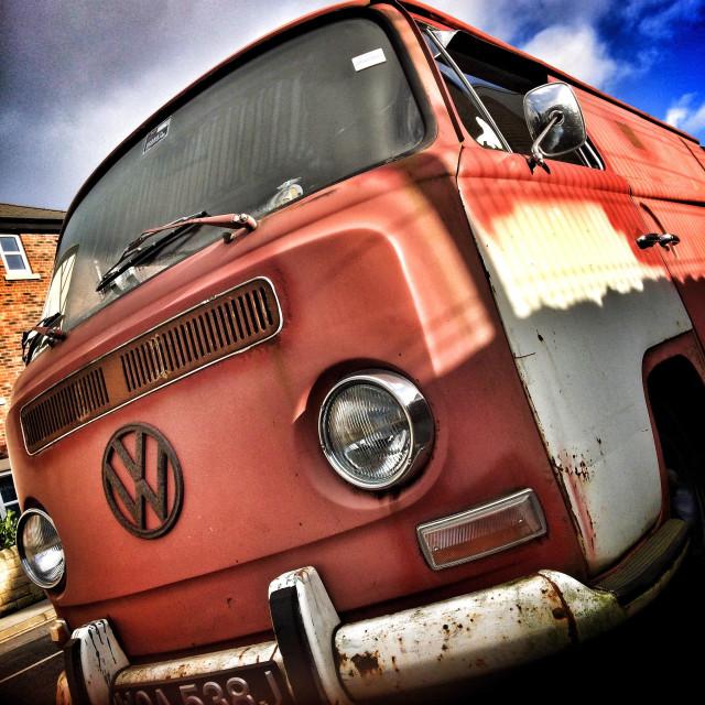 """Rusty old VW Camper Van"" stock image"