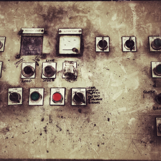 """Old control panel for a slitting machine"" stock image"