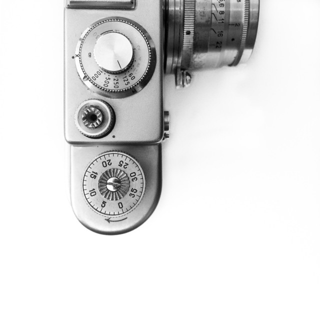 """Control dials on vintage 35mm rangefinder camera"" stock image"