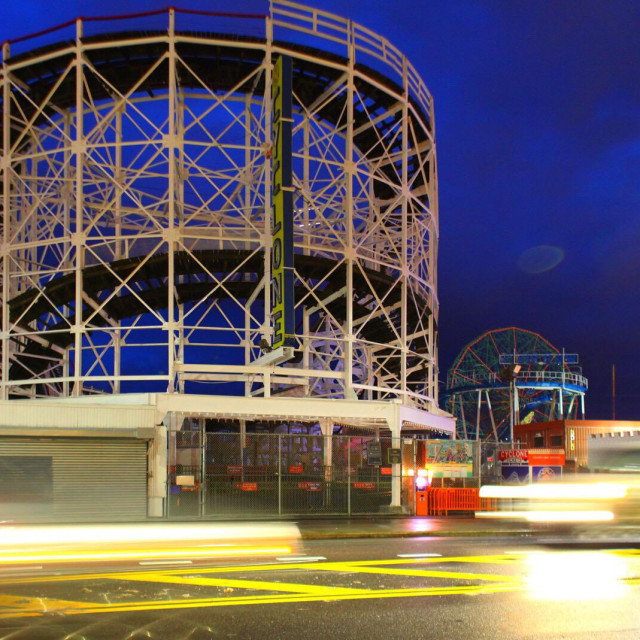 """Cyclone at night in Coney Island."" stock image"