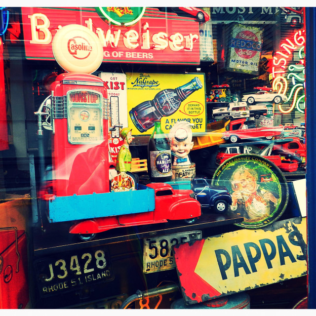 """Neon signs and toy display window"" stock image"