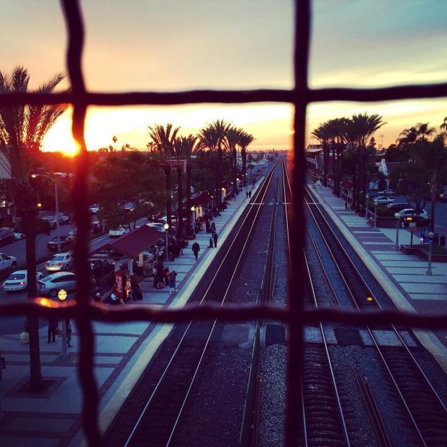 """""""Sunset over Fullerton train station"""" stock image"""