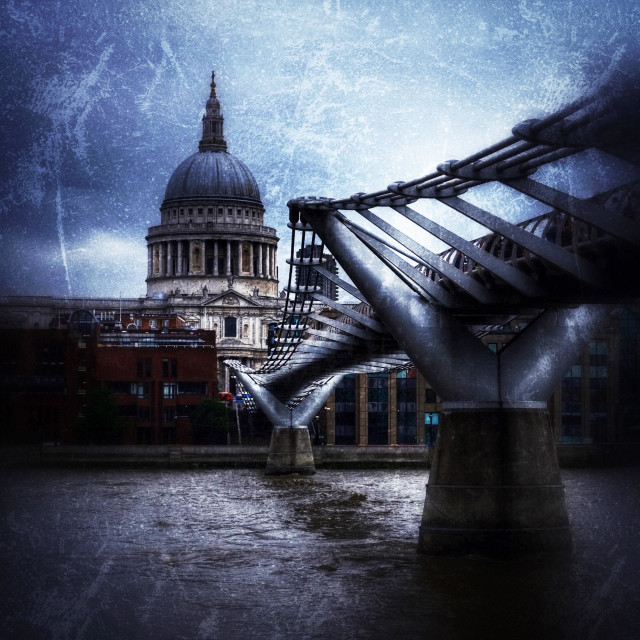 """St Paul's Cathedral and the Millenium Bridge, London, England, UK."" stock image"
