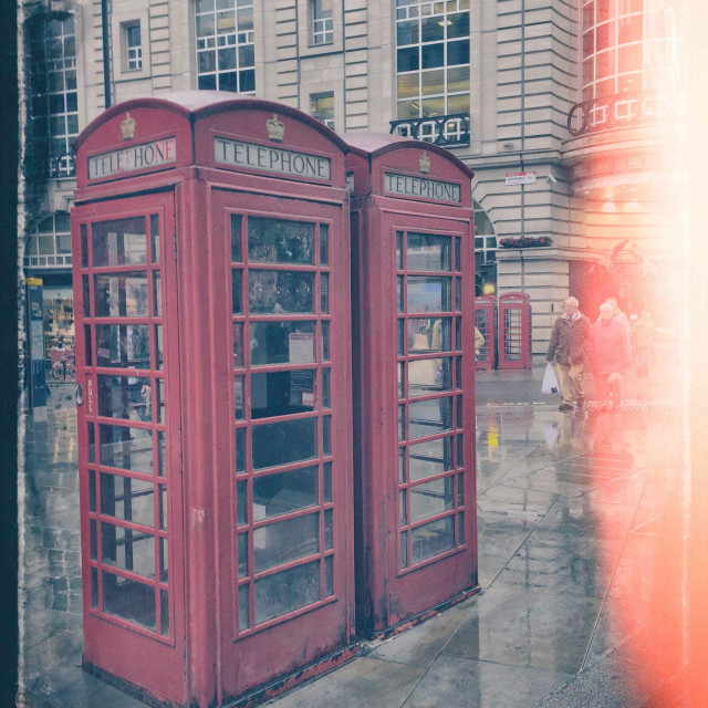 """""""Red phone booths, London"""" stock image"""